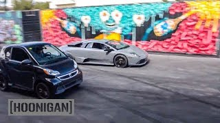 Download [HOONIGAN] DT 058: Lamborghini vs Electric Smart Car Drag Race #SPACERACE Video