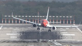 Download CROSSWIND LANDINGS during storm ″Herwart″ at Düsseldorf with a GO AROUND and a BOEING 747 (4K) Video