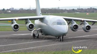Download BAe 146-200QC C3 No.32 The Royal Squadron Airforce ZE707 - Close up Take off Gloucestershire Airport Video