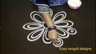 Download latest simple rangoli designs with out color & with out dots-easy rangoli art designs-muggulu design Video