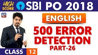 Download 500 Error Detection | Part-26 | English | Class 12 | High Score | SBI PO 2018 | 9:00 am Video