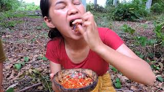 Download Primitive Technology - Pretty girl Find cook Centipede on rock - cooking worms eating delicious Video