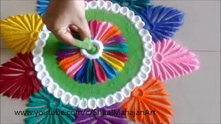 Download Creative and Beautiful Multicolored Rangoli Designs# Easy Rangoli by Shital Mahajan. Video