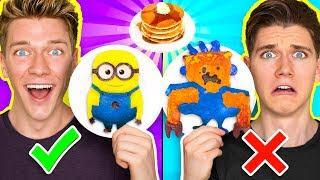 Download PANCAKE ART CHALLENGE!!! Learn How To Make Minions Spiderman & Fidget Spinner out of DIY Pancake! Video
