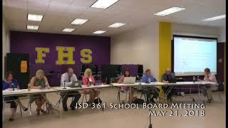Download ISD 361 School Board Meeting 05 21 18 Video