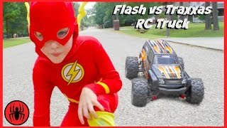 Download Superman vs FLASH vs RC MONSTER TRUCK Traxxas Edition superhero real life movie comic SuperHeroKids Video