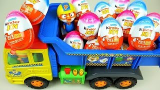 Download Kinder Joy Surprise eggs and Pororo truck toys Video