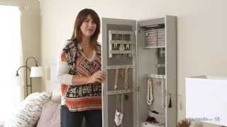 Download Lighted Locking Quatrefoil Wall Mount Jewelry Armoire - High Gloss Gray - Product Review Video Video