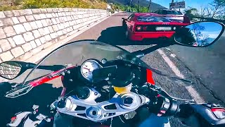 Download Ferrari F40 vs MaxWrist BMW S1000RR - Mountain Road Street Race Supercar vs Superbike Video