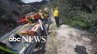 Download Motorcyclist survives cliffside crash caught on camera Video