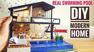 Download DIY Miniature Modern Party Home (with Real Swimming Pool) Video