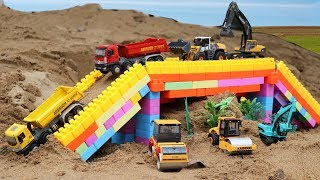 Download รถของเล่นก่อสร้างทำสะพาน รถแม็คโคร รถบรรทุกดิน รถแทรกเตอร์ รถบดถนน รถเกรด Video