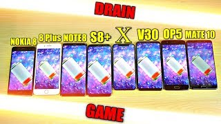 Download iPhone X vs Note 8 vs S8+ vs Nokia 8 vs LG V30 vs OnePlus 5 vs 8 Plus vs Mate 10 Battery Drain Test! Video