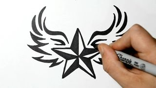 Download How to Draw a Nautical Star with Wings - Tribal Style Video