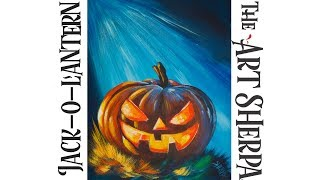 Download How to paint Acrylic on canvas Spooky pumpkin LIVE Beginner art tutorial Video