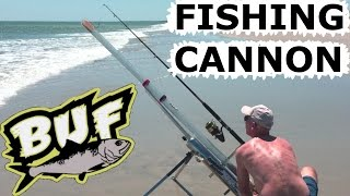 Download BEACH FISHING CANNON BAIT CASTER 300 YARD CASTING OFFSHORE 6 FOOT SHARKS BUNKER UP FISHING Video