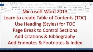 Download Microsoft Word 2013/2016 pt 7 (Table of Contents, Bibliography, Endnote, Index) Video