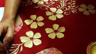 Download Convert Plain Dress into Designer Wear | Golden Painting on Fabric | Latest Fashion Dress Design Video