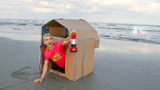 Download BOX FORT AT THE BEACH OVERNIGHT CHALLENGE!! (OCEAN MONSTER SPOTTED) Video