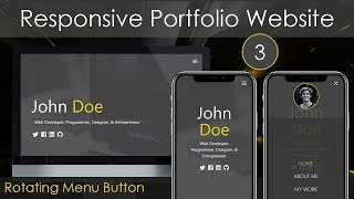 Download Responsive Portfolio Website [3] - Rotating Menu Button Video