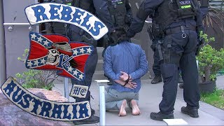 Download Rebels MC and Comanchero MC caught in massive police raids in Australia Video