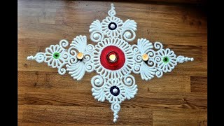 Download Quick,simple and creative free hand flower rangoli design - Diwali Rangoli designs with colours Video