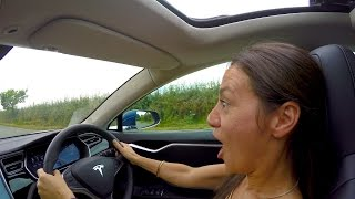 Download She's NEVER driven a TESLA before Video