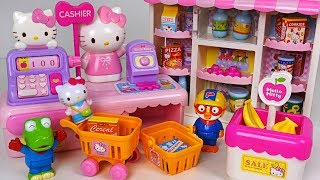 Download Shopping at Hello Kitty Convenience Store with Pororo! Baby doll Market Casher toys #PinkyPopTOY Video