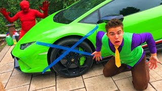 Download Red Man tied to Wheel Car with Scotch Tape VS Mr. Joe on Lamborghini in Tire Service for Kids Video