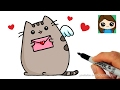 Download How to Draw Pusheen Cat Valentines Love Easy Video