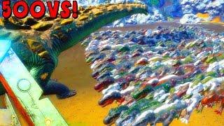 Download ARK - 500 T REX VS TITANOSAUR, ALPHA REX VS TITANOSAUR ( ARK Survival Evolved Battle Gameplay ) Video