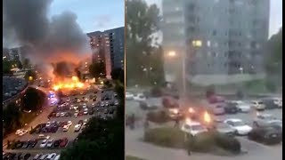 Download 80-100 Cars Set On Fire In Sweden! Explosions Drive Polls Right. Video