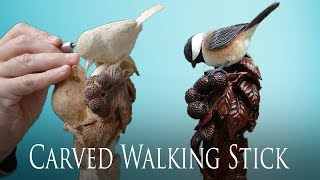 Download Wood Carved Chickadee and Blackberry Bramble Walking Stick Video