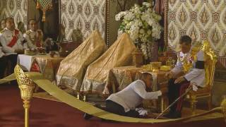 Download Thai Crown Prince Maha Vajiralongkorn at ceremony to bathe late King Bhumibol Adulyadej Video