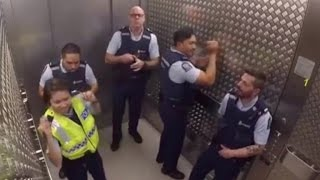 Download Watch Groovy Police Officers Break Out Into Silly Elevator Jam Session Video