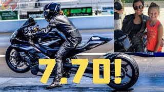 Download FEMALE MOTORCYCLE DRAG RACER SETS GSXR 1000 ALL MOTOR DRAG BIKE WORLD RECORD AT HER FIRST PRO RACE Video