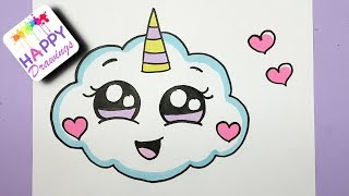 Download HOW TO DRAW A SUPER CUTE CLOUD EMOJI UNICORN - EASY DRAWING Video