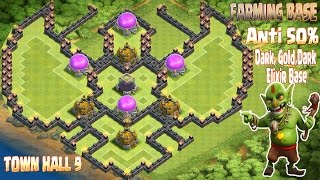 Download Coc Th9 Farming base 2016. Town Hall 9 Anti 50% Gold, Dark Elixir Base Clash of Clans Video