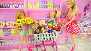Download Barbie and Her sisters Go Shopping at Toy store & Supermarket Pasar boneka Barbie Irmãs Compras Video
