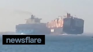 Download Two container ships collide on Suez Canal Video