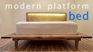 Download How to Build a Modern Platform Bed w/ Lights | Queen Bed | DIY Video