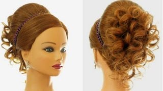 Download Wedding prom hairstyle for long hair. Updo tutorial Video