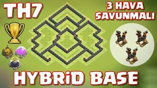 Download 7.Seviye Köy Binası - 3 Hava Savunmalı Kupa ve Ganimet Koruma Düzeni / Hybrid Base - Clash of Clans Video