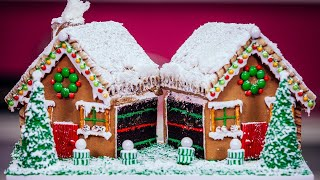 Download How To Make A Gingerbread House CAKE with chocolate, buttercream, candy and icing! Video