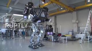 Download South Korea: World's first giant manned robot takes its first steps Video