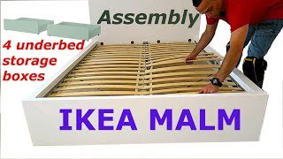Download Ikea MALM Bed frame assembly with 4 storage boxes White/luröy Video