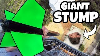 Download GIANT DART Vs. GIANT TREE STUMP from 45m! Video