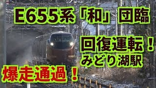 Download 【E655系 団臨 回復運転でみどり湖駅 爆走通過!】 Video