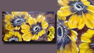 Download STEP by STEP Abstract Flower Painting for Beginners on Large Canvas - Painting TECHNIQUES - Day #31 Video