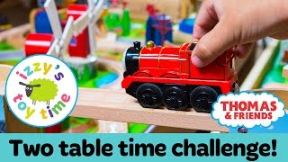 Download Thomas Train DOUBLE TRACK TIME CHALLENGE! Thomas Train with Brio and KidKraft | Toy Trains for Kids Video